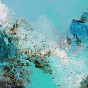 (CreativeWork) Sapphire waters  by Sue Dyde. mixed-media. Shop online at Bluethumb.