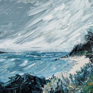 (CreativeWork) 'The Day You Went Away' Seascape by Michelle Keighley. oil-painting. Shop online at Bluethumb.
