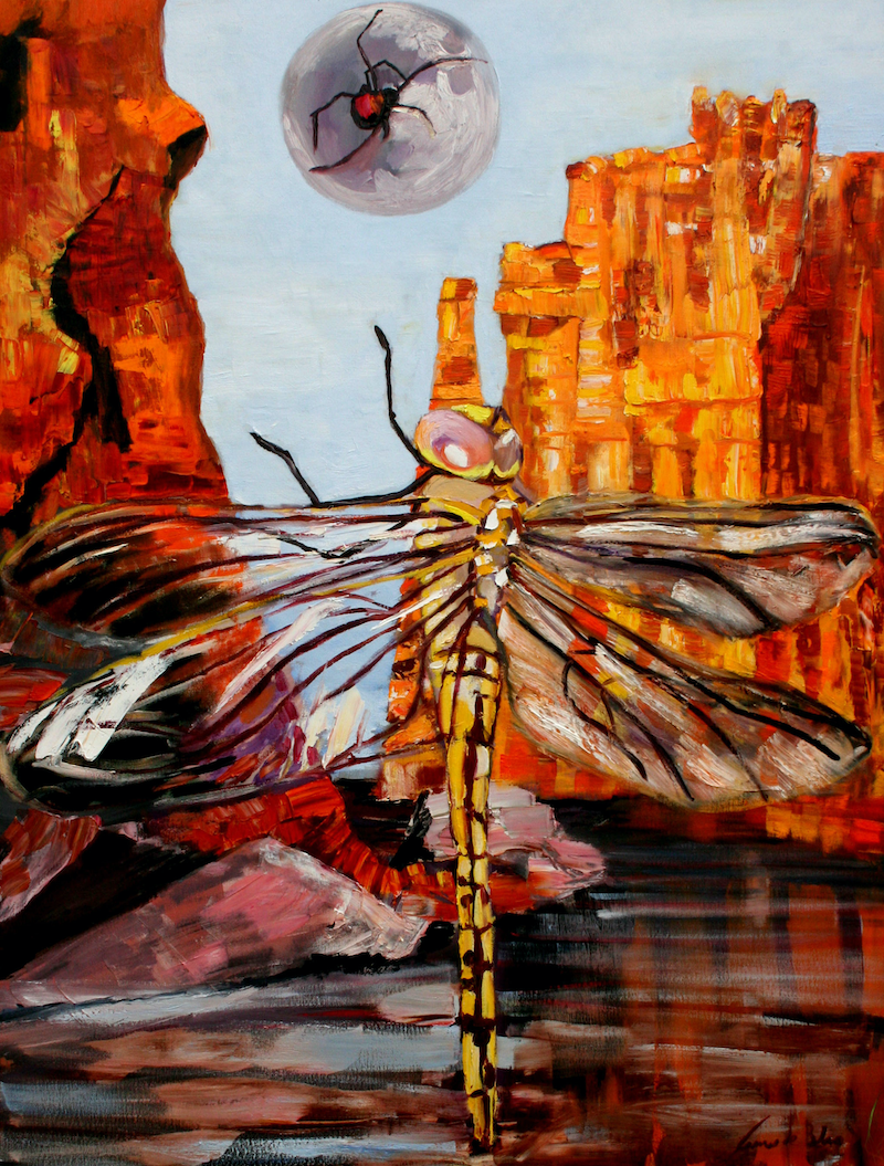 (CreativeWork) Yellow Dragoonfly Butterfly Gorge by James de Blas. oil-painting. Shop online at Bluethumb.