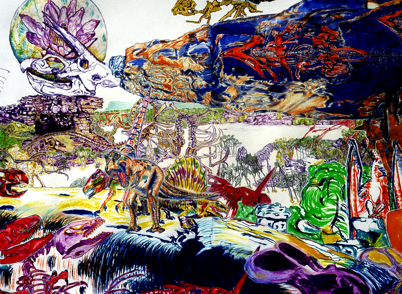(CreativeWork) world of dinosaur skeletons by James de Blas. mixed-media. Shop online at Bluethumb.