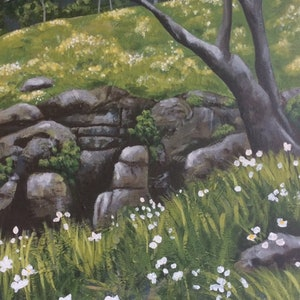 (CreativeWork) Daisies by the Falls by Diane McDonald. arcylic-painting. Shop online at Bluethumb.