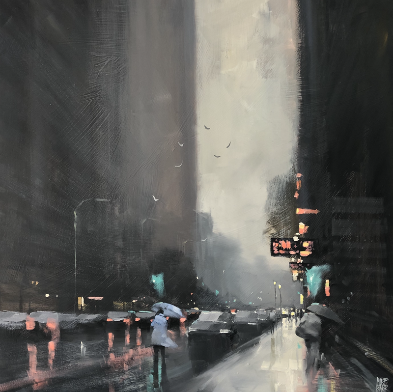 (CreativeWork) A bit of weather - rainy cityscape by Mike Barr. oil-painting. Shop online at Bluethumb.