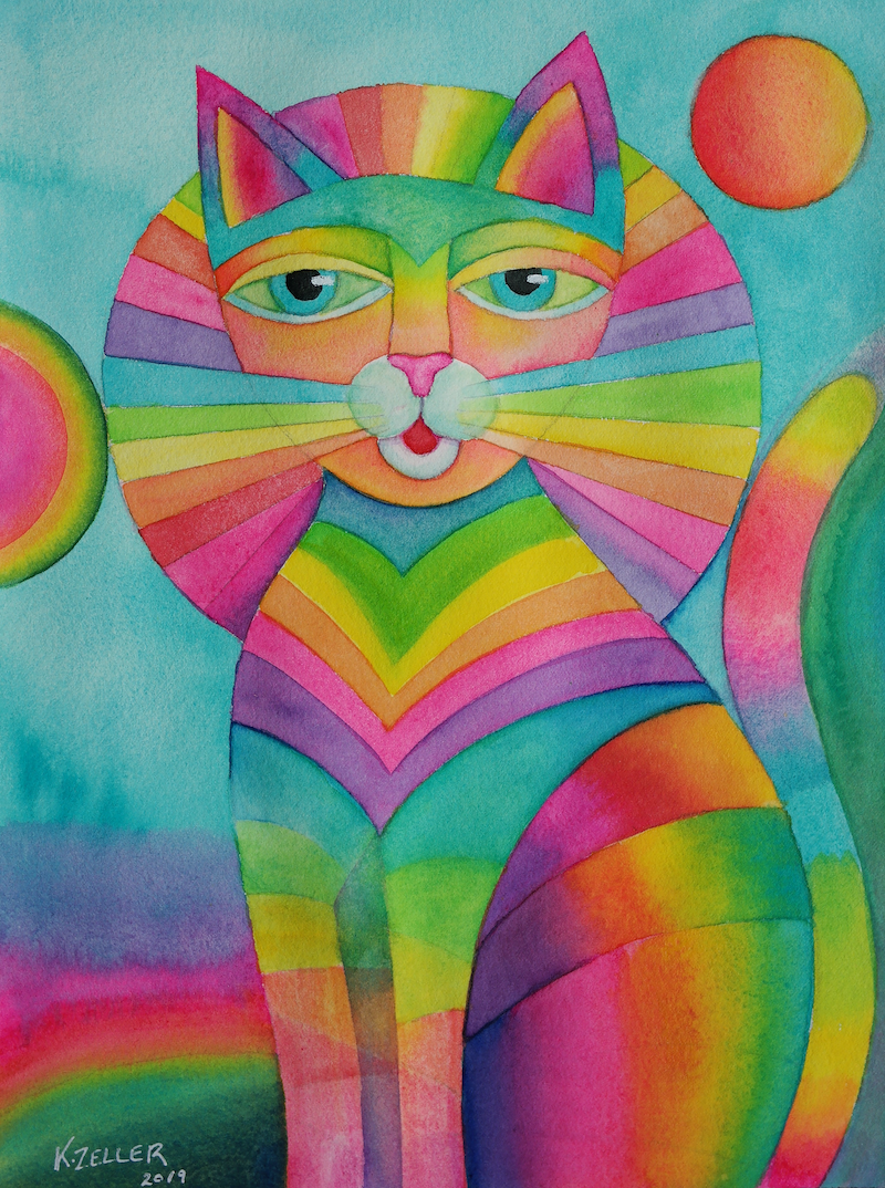 (CreativeWork) Egyptian Cat , watercolour (unframed) by Karin Zeller. watercolour. Shop online at Bluethumb.