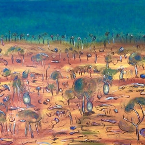 (CreativeWork) Kimberley - Wet Season Approaching by Meg Vivers. acrylic-painting. Shop online at Bluethumb.