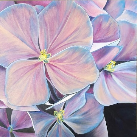 (CreativeWork) Timeless Hydrangeas by Jade T Fisher. Acrylic Paint. Shop online at Bluethumb.