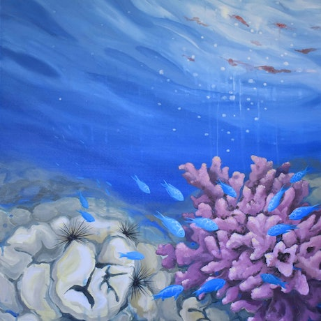 (CreativeWork) Oceans' Blush I by Jenny Berry. Acrylic Paint. Shop online at Bluethumb.