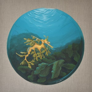 (CreativeWork) 'Seadragon Porthole' - An Underwater Ocean Scene by Jenny Berry. Acrylic Paint. Shop online at Bluethumb.