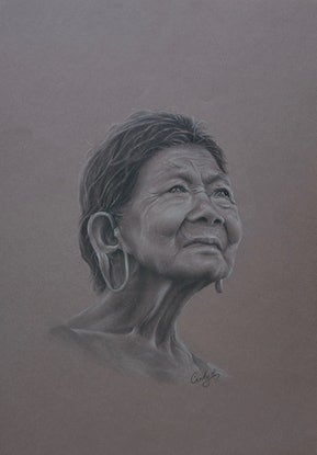 (CreativeWork) The lady with the ears by Candace Slager. Drawings. Shop online at Bluethumb.