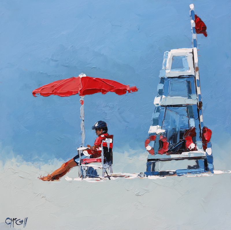 (CreativeWork) The Lifeguard by Claire McCall. oil-painting. Shop online at Bluethumb.