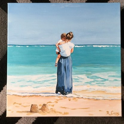 (CreativeWork) Mother and Child by Robyn Gray. Acrylic. Shop online at Bluethumb.