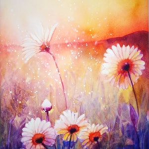 (CreativeWork) Sunlight and Daisies II by Lucinda Leveille. watercolour. Shop online at Bluethumb.
