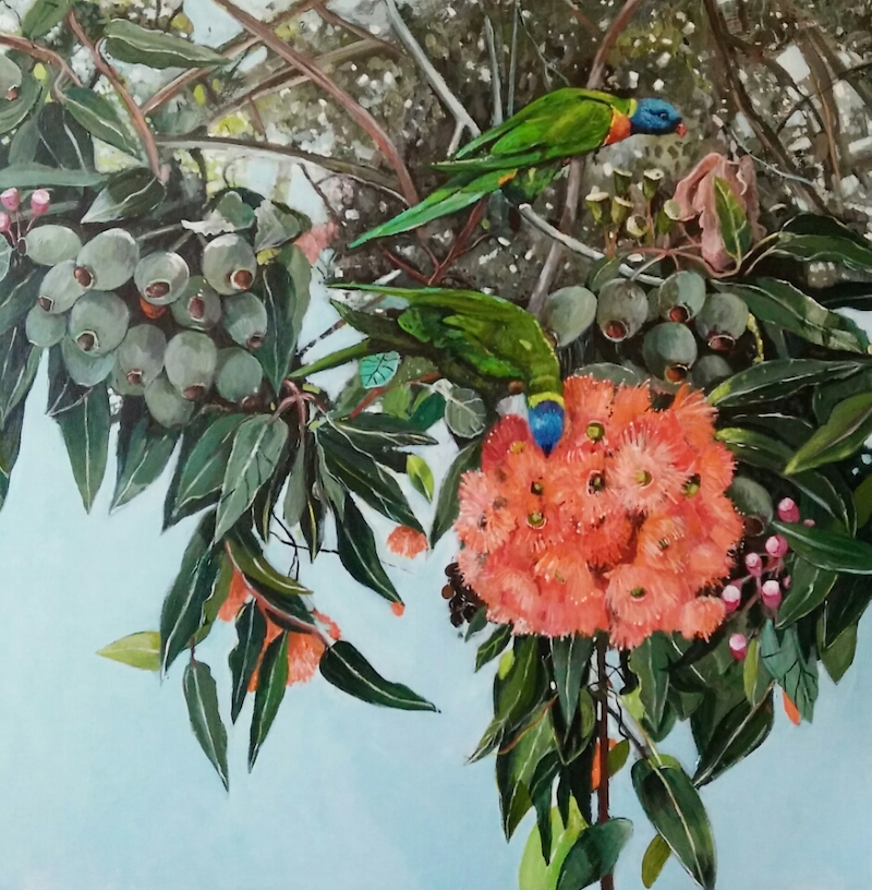 (CreativeWork) Australian Landscape   Gum Blossom and Lorikeets by Susan Trudinger. arcylic-painting. Shop online at Bluethumb.