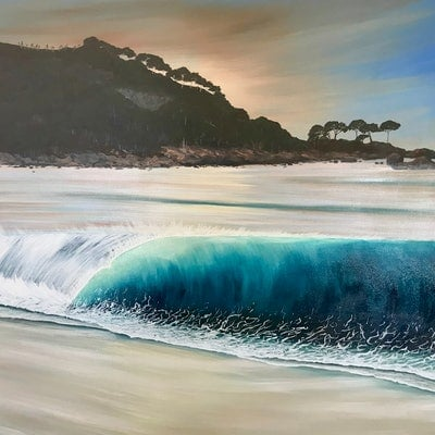 (CreativeWork) Days End Bunkers Bay Dunsborough by Kirsty Watkins. acrylic-painting. Shop online at Bluethumb.