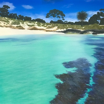 (CreativeWork) Bliss @ The Basin Rottnest Island by Kirsty Watkins. acrylic-painting. Shop online at Bluethumb.