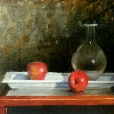 (CreativeWork) Balance.  Still Life With Apples by Jeffrey Murphy. Oil Paint. Shop online at Bluethumb.