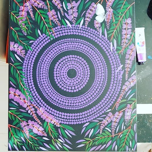 (CreativeWork) Hardenbergia  by Rebecca Reid. arcylic-painting. Shop online at Bluethumb.
