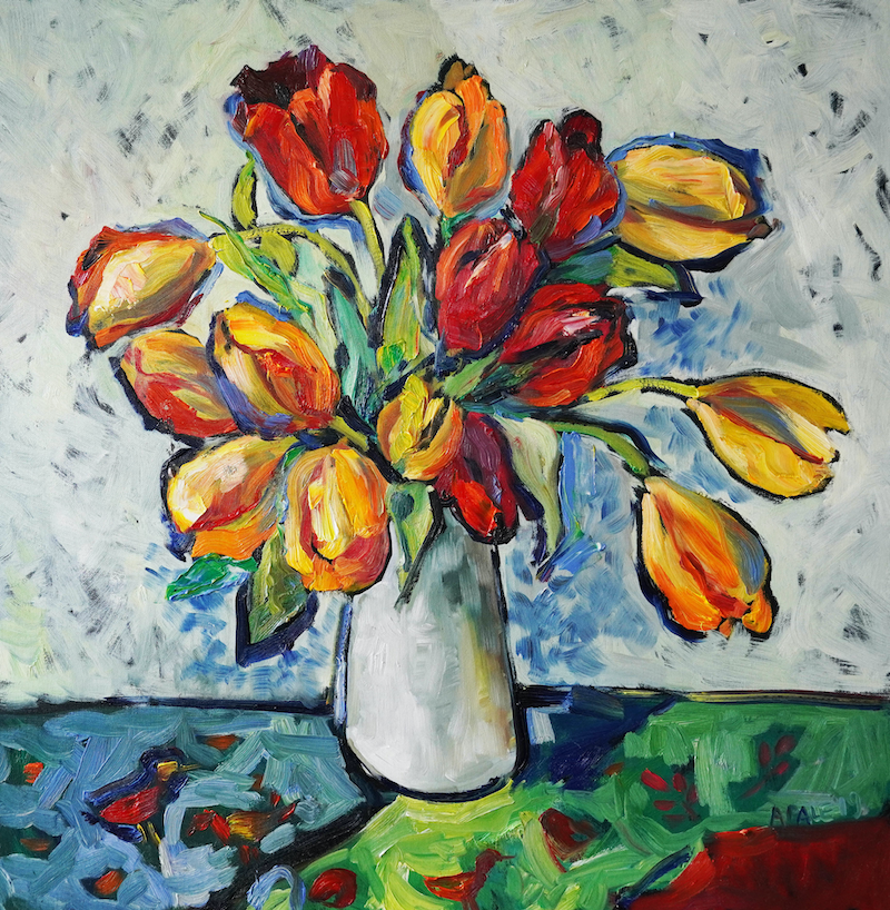 (CreativeWork) Tulips IV by Katerina Apale. Oil Paint. Shop online at Bluethumb.