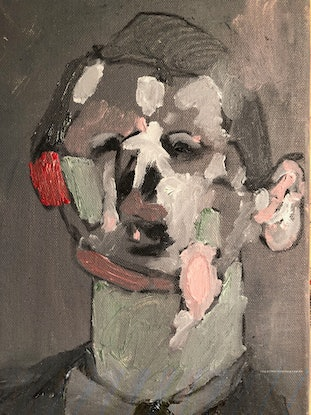 (CreativeWork) red ear by Jodie Zutt. Oil Paint. Shop online at Bluethumb.