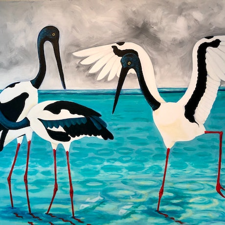 (CreativeWork) Jabaroos by Roby Callaghan. Acrylic Paint. Shop online at Bluethumb.