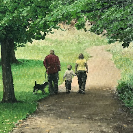 (CreativeWork) Family Walk at New Norfolk, Tasmania by Michael Bessell. Oil Paint. Shop online at Bluethumb.
