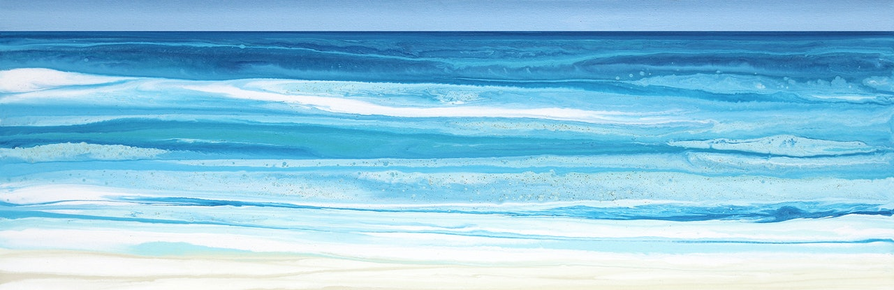 (CreativeWork) Maysea- Long, abstract seascape, blue, green by Stephanie Laine Pickering. #<Filter:0x00007f0bc8f45e18>. Shop online at Bluethumb.