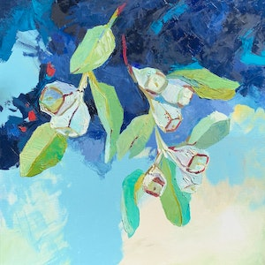 (CreativeWork) Eucalyptus Tetragona by Lydie Paton. oil-painting. Shop online at Bluethumb.