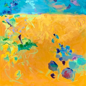 (CreativeWork) Yellow fields by Lydie Paton. oil-painting. Shop online at Bluethumb.