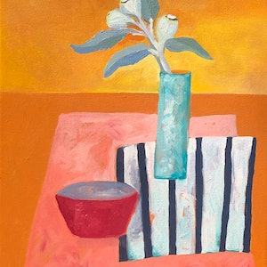 (CreativeWork) Eucalyptus tetragona with red bowl by Lydie Paton. oil-painting. Shop online at Bluethumb.