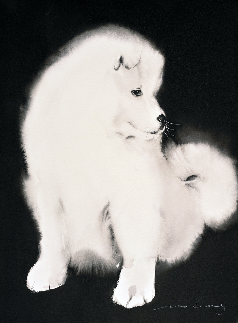 Samoyed Pup By Soo Beng Lim Paintings For Sale Bluethumb Online