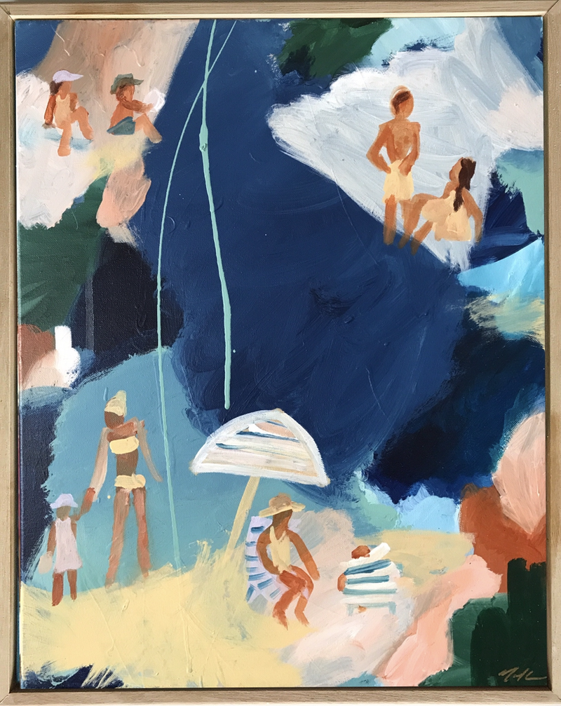 (CreativeWork) Beach Days On The Eastern Suburbs by Marnie McKnight. arcylic-painting. Shop online at Bluethumb.