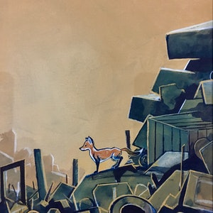 (CreativeWork) Little Fox at the Tip by Ross Morgan. arcylic-painting. Shop online at Bluethumb.
