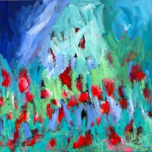 (CreativeWork) Wild Meadow - Abstract Visions Series 2019  by Jen Shewring. arcylic-painting. Shop online at Bluethumb.