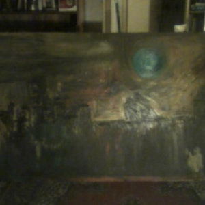(CreativeWork) SYDNEY WITH GREEN MOON by GIULIO IACOBINI. oil-painting. Shop online at Bluethumb.