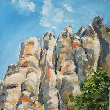 (CreativeWork) WIMMERA SERIES 4 - The organ pipes of Mt Arapiles by Suzy Strout. Acrylic Paint. Shop online at Bluethumb.