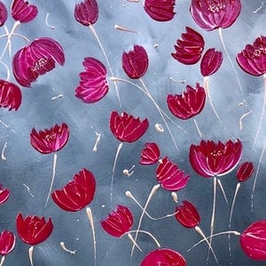 (CreativeWork) Hope - contemporary poppy painting on canvas by Debra Ryan. mixed-media. Shop online at Bluethumb.