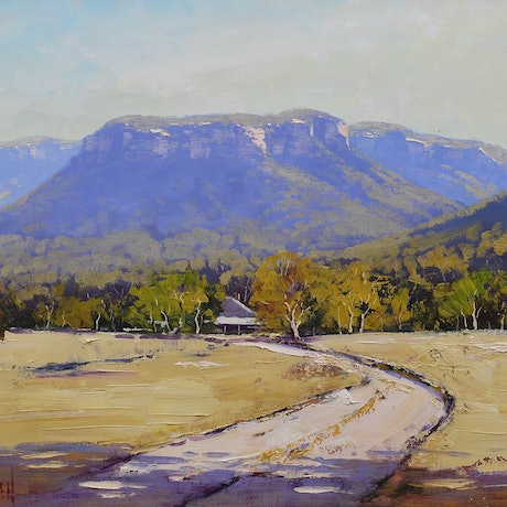 (CreativeWork) Megalong valley farm by Graham Gercken. Oil Paint. Shop online at Bluethumb.