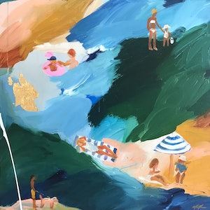 (CreativeWork) Sunbakers At The Bay by Marnie McKnight. arcylic-painting. Shop online at Bluethumb.