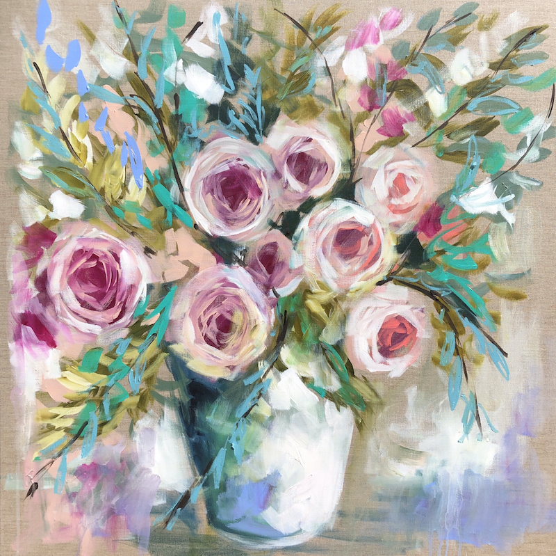 (CreativeWork) Lemon scented gum and bush roses  by Amanda Brooks. #<Filter:0x00007fbc2ca093b8>. Shop online at Bluethumb.