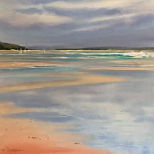 (CreativeWork) Sailing day, Inverloch. by Vivi Palegeorge. oil-painting. Shop online at Bluethumb.