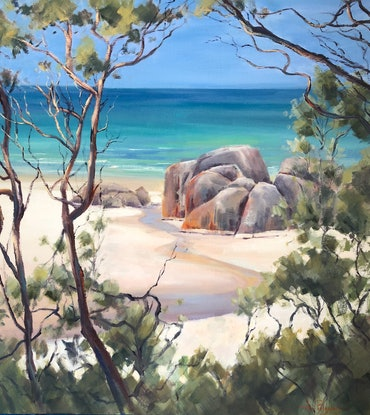 (CreativeWork) On Squeaky Beach, Wilsons Prom. by Vivi Palegeorge. Oil Paint. Shop online at Bluethumb.
