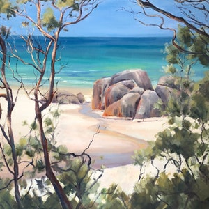 (CreativeWork) On Squeaky Beach, Wilsons Prom. by Vivi Palegeorge. oil-painting. Shop online at Bluethumb.