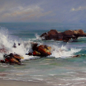 (CreativeWork) Summer wave,  Aireys Inlet. by Vivi Palegeorge. oil-painting. Shop online at Bluethumb.