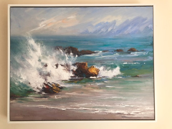 (CreativeWork) Summer wave,  Aireys Inlet. by Vivi Palegeorge. Oil Paint. Shop online at Bluethumb.