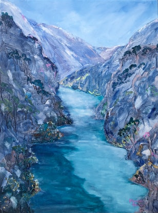 (CreativeWork) Kawarau River by Meredith Howse. Acrylic Paint. Shop online at Bluethumb.