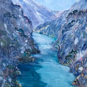 (CreativeWork) Kawarau River by Meredith Howse. arcylic-painting. Shop online at Bluethumb.