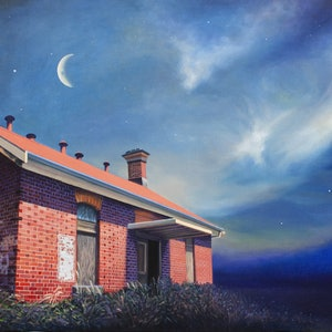 (CreativeWork) Abandoned isolation ward (old Kyneton hospital) by Nerrida Parfitt. oil-painting. Shop online at Bluethumb.