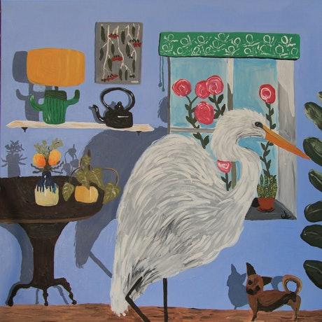 (CreativeWork) Egret In The House by Moody Rabbit. Acrylic Paint. Shop online at Bluethumb.