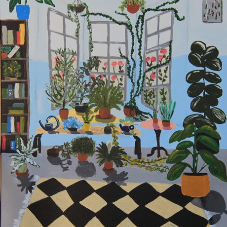 (CreativeWork) Plant Room by Moody Rabbit. Acrylic Paint. Shop online at Bluethumb.
