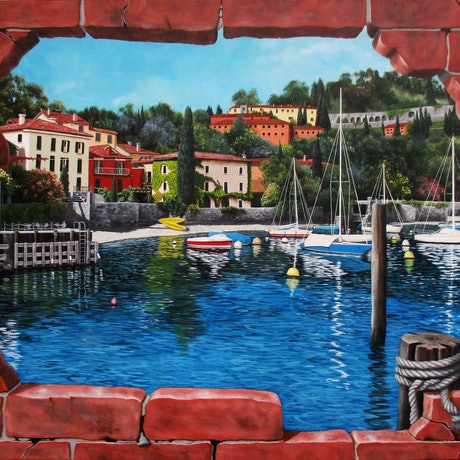 (CreativeWork) Pescallo, Lake Como, Italy Trompe L'oeil by Debra Dickson. Acrylic Paint. Shop online at Bluethumb.