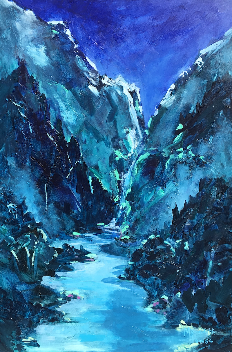 (CreativeWork) Night falls on Shotover River by Meredith Howse. Acrylic Paint. Shop online at Bluethumb.